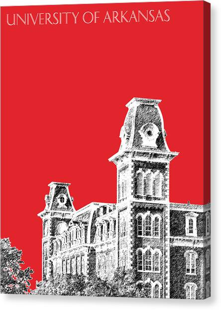 University Of Arkansas Canvas Print - University Of Arkansas - Red by DB Artist