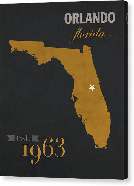 University Of Central Florida Ucf Canvas Print - University Of Central Florida Knights College Town State Map Poster Series No 027 by Design Turnpike