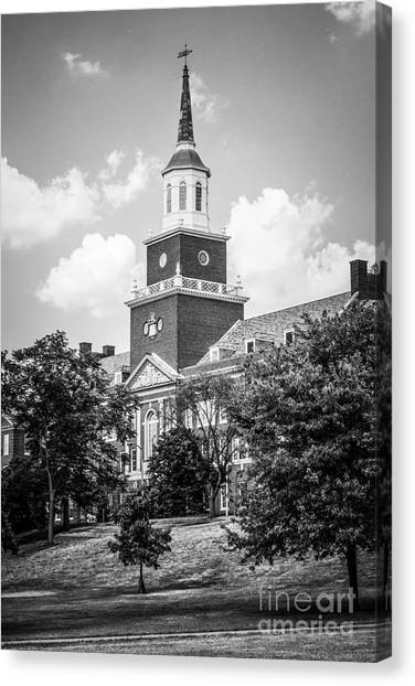 University Of Cincinnati Canvas Print - University Of Cincinnati Black And White Picture by Paul Velgos