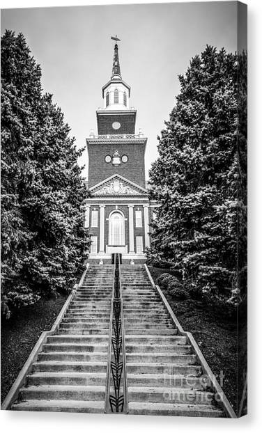 University Of Cincinnati Canvas Print - University Of Cincinnati Mcmicken Hall Black And White Picture by Paul Velgos
