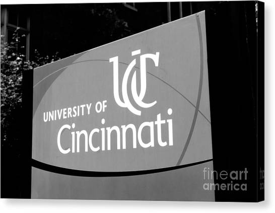 University Of Cincinnati Canvas Print - University Of Cincinnati Sign Black And White Picture by Paul Velgos