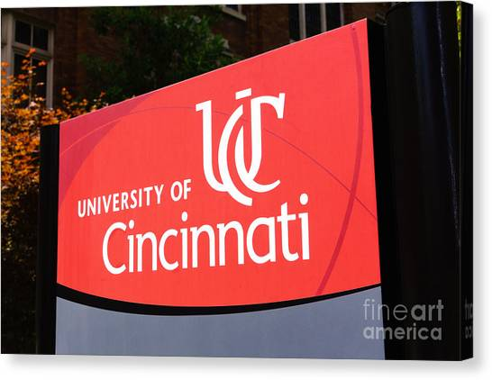 Aac Canvas Print - University Of Cincinnati Sign by Paul Velgos