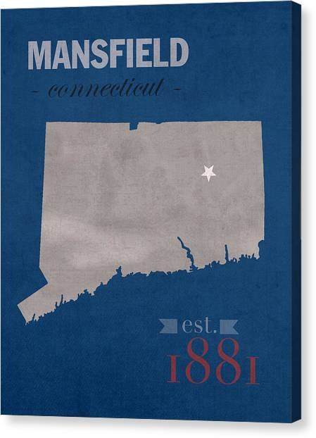 Aac Canvas Print - University Of Connecticut Huskies Mansfield College Town State Map Poster Series No 033 by Design Turnpike