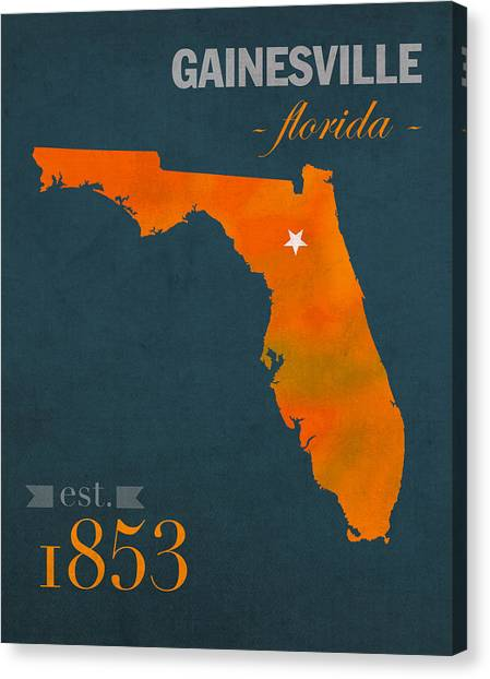 Sec Canvas Print - University Of Florida Gators Gainesville College Town Florida State Map Poster Series No 003 by Design Turnpike