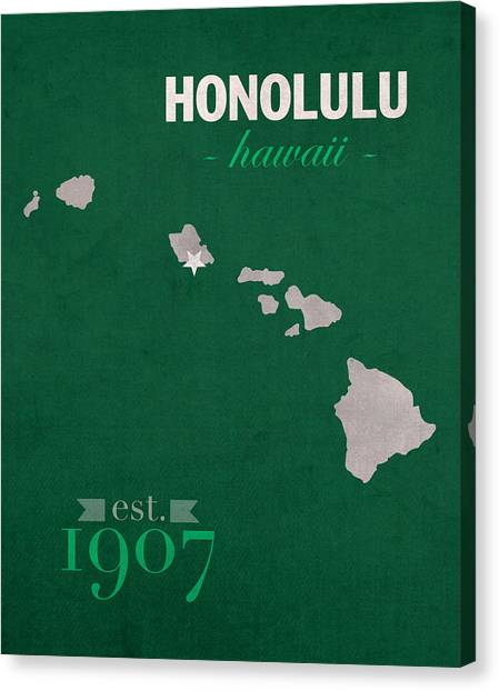 University Of Hawaii Canvas Print - University Of Hawaii Rainbow Warriors Honolulu College Town State Map Poster Series No 044 by Design Turnpike
