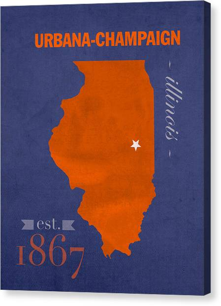 Illinois State University Canvas Print - University Of Illinois Fighting Illini Urbana Champaign College Town State Map Poster Series No 047 by Design Turnpike