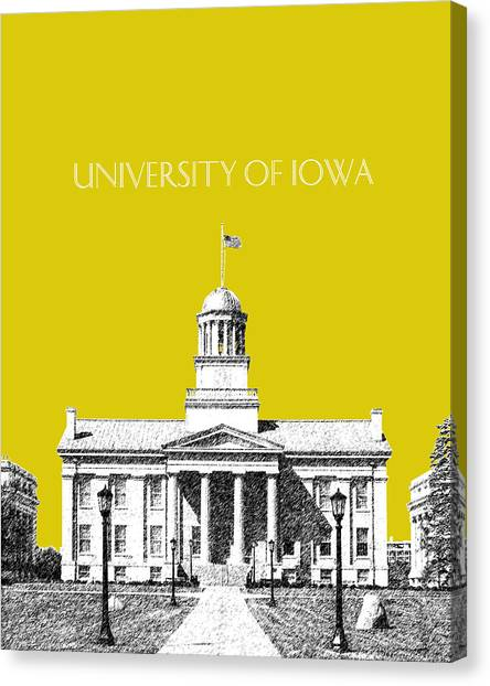 University Of Iowa Canvas Print - University Of Iowa - Mustard Yellow by DB Artist