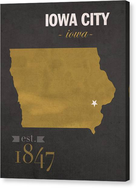 University Of Iowa Canvas Print - University Of Iowa Hawkeyes Iowa City College Town State Map Poster Series No 049 by Design Turnpike