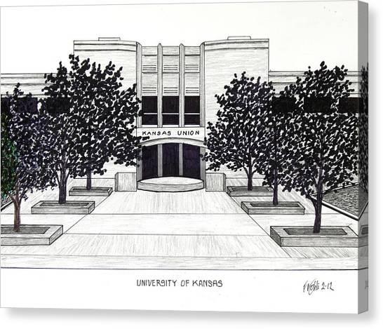 University Of Kansas Canvas Print - University Of Kansas Union Building by Frederic Kohli