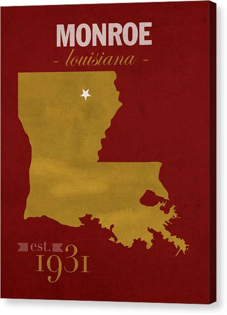 Sun Belt Canvas Print - University Of Louisiana Monroe Warhawks College Town State Map Poster Series No 058 by Design Turnpike