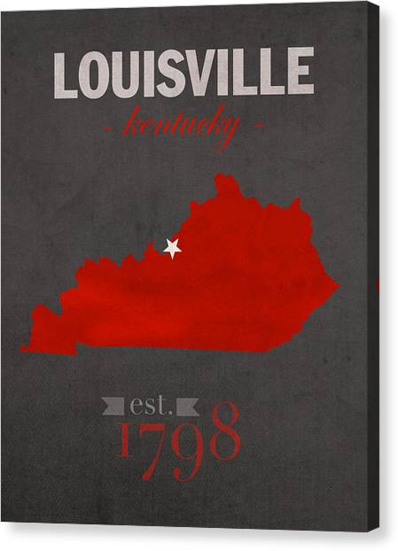 University Of Kentucky Canvas Print - University Of Louisville Cardinals Kentucky College Town State Map Poster Series No 059 by Design Turnpike
