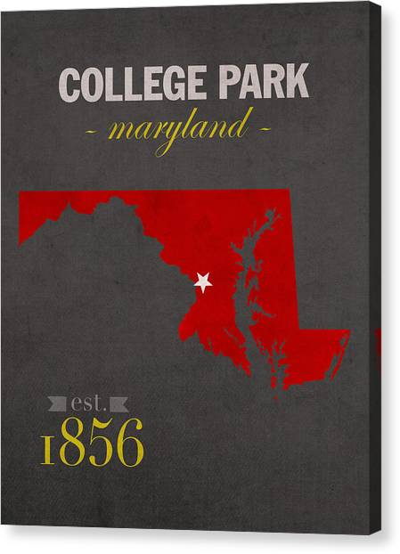 Big Ten Canvas Print - University Of Maryland Terrapins College Park College Town State Map Poster Series No 061 by Design Turnpike