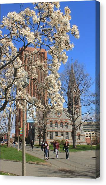 University Of Massachusetts Amherst Umass Amherst Canvas Print - University Of Massachusetts Old Chapel And Library In Spring by John Burk