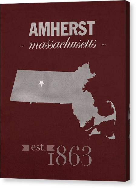 University Of Massachusetts Amherst Umass Amherst Canvas Print - University Of Massachusetts Umass Minutemen Amherst College Town State Map Poster Series No 062 by Design Turnpike