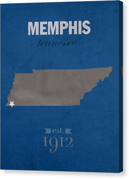 Aac Canvas Print - University Of Memphis Tigers Tennessee College Town State Map Poster Series No 063 by Design Turnpike