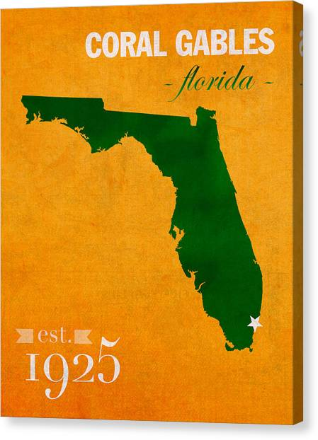 University Of Miami Canvas Print - University Of Miami Hurricanes Coral Gables College Town Florida State Map Poster Series No 002 by Design Turnpike