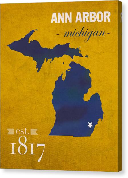 Arbor Canvas Print - University Of Michigan Wolverines Ann Arbor College Town State Map Poster Series No 001 by Design Turnpike