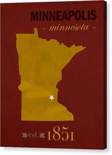 University Of Minnesota Canvas Print - University Of Minnesota Golden Gophers Minneapolis College Town State Map Poster Series No 066 by Design Turnpike