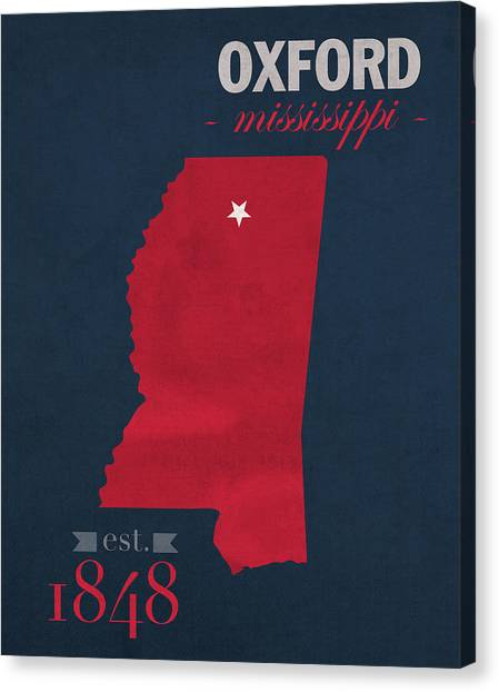 Mississippi State University Canvas Print - University Of Mississippi Ole Miss Rebels Oxford College Town State Map Poster Series No 067 by Design Turnpike