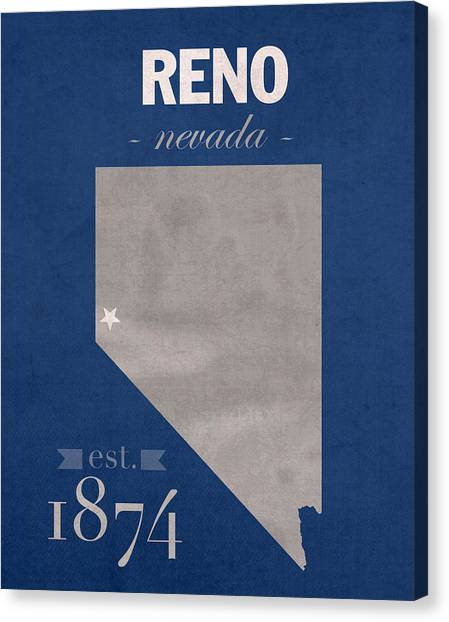 University Of Nevada - Reno Canvas Print - University Of Nevada Reno Wolfpack College Town State Map Poster Series No 072 by Design Turnpike