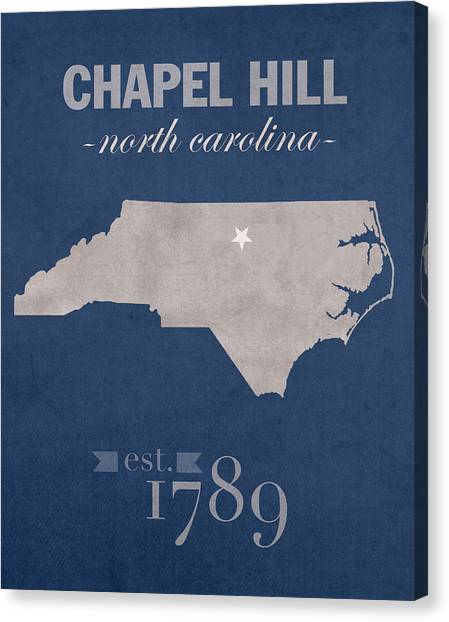 University Of North Carolina Chapel Hill Canvas Print - University Of North Carolina Tar Heels Chapel Hill Unc College Town State Map Poster Series No 076 by Design Turnpike