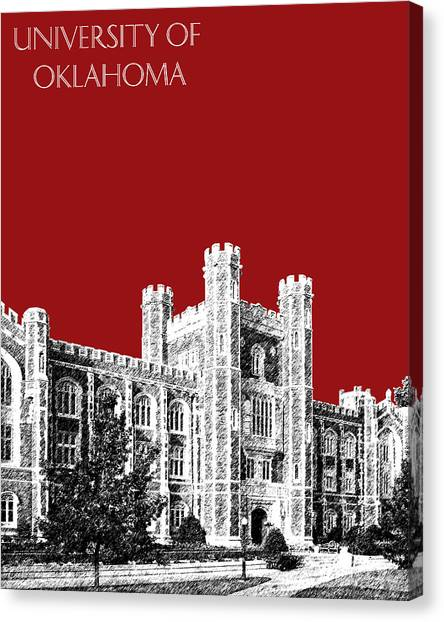 Colleges And Universities Canvas Print - University Of Oklahoma - Dark Red by DB Artist