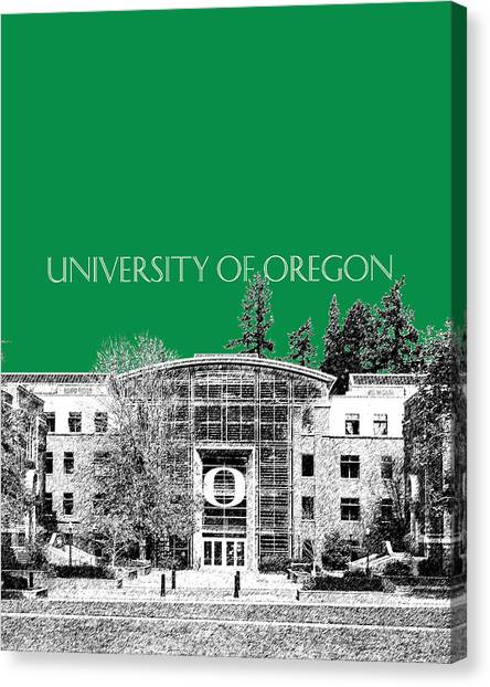 Pac 12 Canvas Print - University Of Oregon - Forest Green by DB Artist