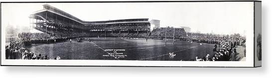 University Of Pittsburgh Canvas Print - University Of Pittsburgh Vs W And J College Forbes Field Pittsburgh Pa 1915 by Bill Cannon