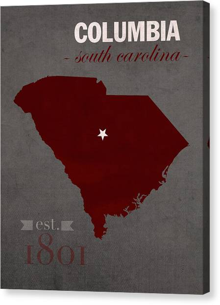 Sec Canvas Print - University Of South Carolina Gamecocks Columbia College Town State Map Poster Series No 096 by Design Turnpike