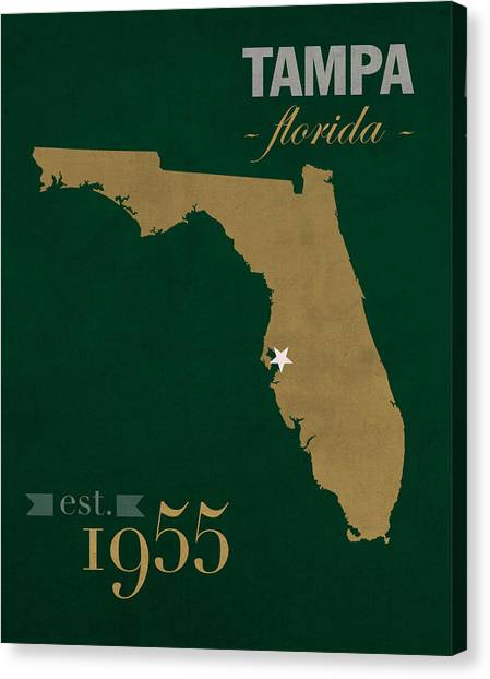 University Of South Florida Canvas Print - University Of South Florida Bulls Tampa Florida College Town State Map Poster Series No 101 by Design Turnpike