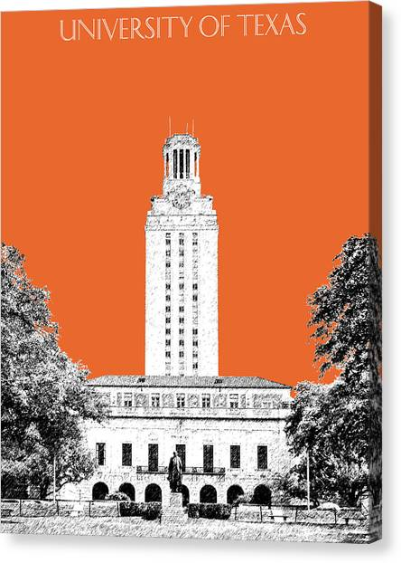 Colleges And Universities Canvas Print - University Of Texas - Coral by DB Artist