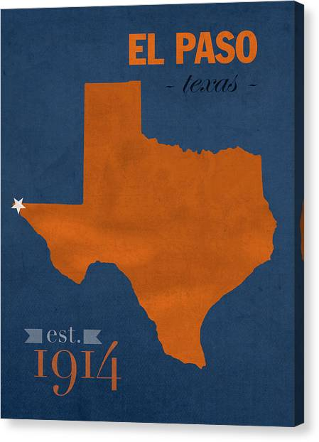 Texas State University Texas State Canvas Print - University Of Texas At El Paso Utep Miners College Town State Map Poster Series No 110 by Design Turnpike
