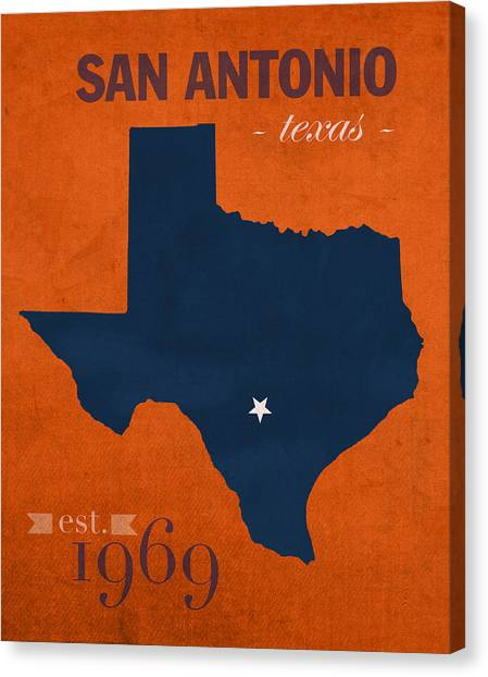 Texas State University Texas State Canvas Print - University Of Texas At San Antonio Roadrunners College Town State Map Poster Series No 111 by Design Turnpike