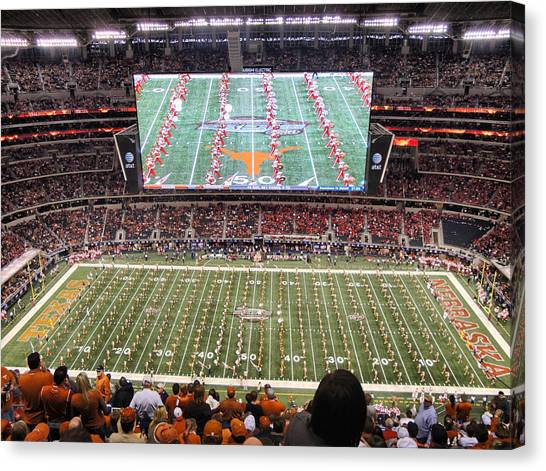 The University Of Texas Canvas Print - University Of Texas Championship Game by Georgia Fowler