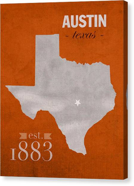 Texas State University Texas State Canvas Print - University Of Texas Longhorns Austin College Town State Map Poster Series No 105 by Design Turnpike