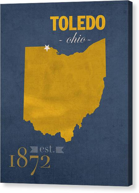 University Of Toledo Canvas Print - University Of Toledo Ohio Rockets College Town State Map Poster Series No 112 by Design Turnpike
