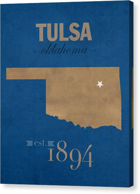 Oklahoma State University Canvas Print - University Of Tulsa Oklahoma Golden Hurricane College Town State Map Poster Series No 115 by Design Turnpike