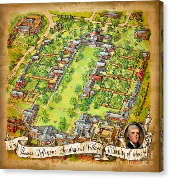 University Of Virginia Canvas Print - University Of Virginia Academical Village  With Scroll by Maria Rabinky