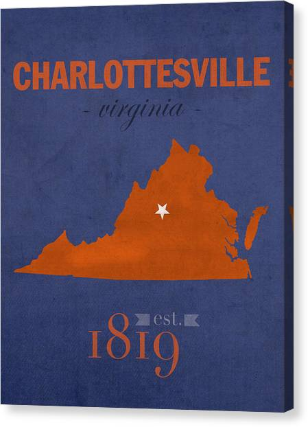 University Of Virginia Canvas Print - University Of Virginia Cavaliers Charlotteville College Town State Map Poster Series No 119 by Design Turnpike