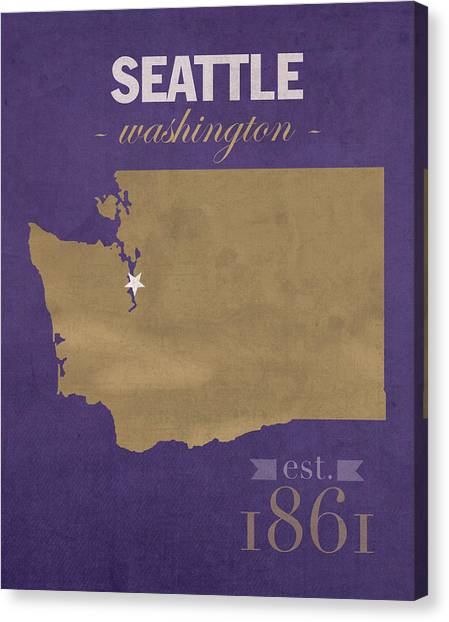 University Of Washington Canvas Print - University Of Washington Huskies Seattle College Town State Map Poster Series No 122 by Design Turnpike
