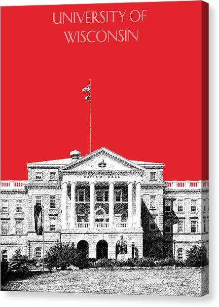 Colleges And Universities Canvas Print - University Of Wisconsin - Red by DB Artist