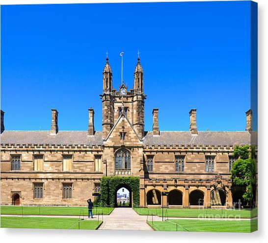 University Quadrangle With Gothic Revival Architecture Canvas Print