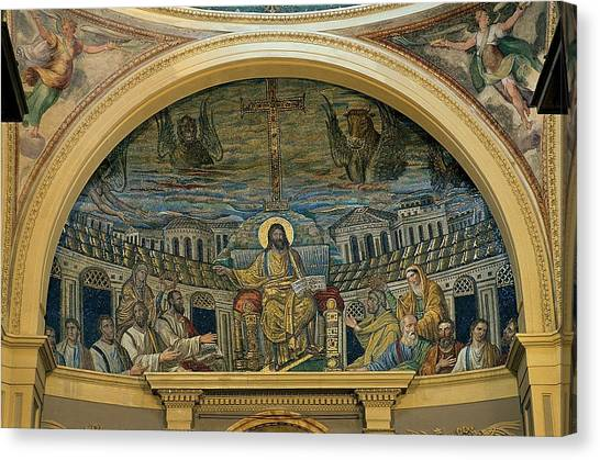 Early Christian Art Canvas Print - Unknown, Christ Teaching The Apostles by Everett