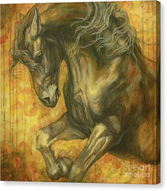 Horses Canvas Print - Unleashed by Silvana Gabudean Dobre