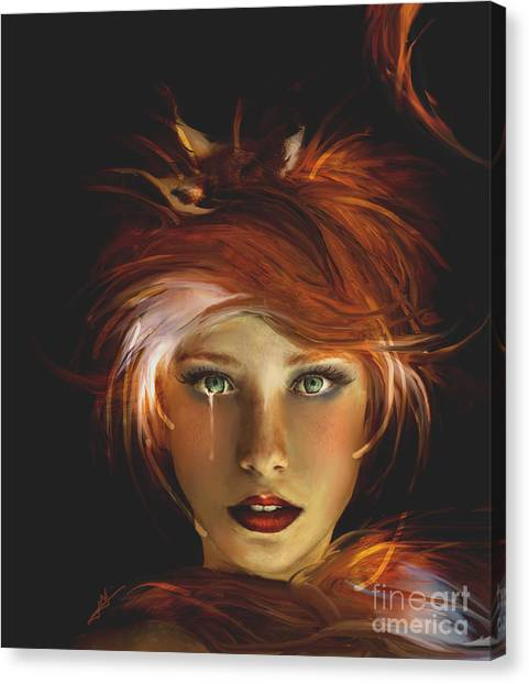 Untamed The Redhead And The Fox Canvas Print