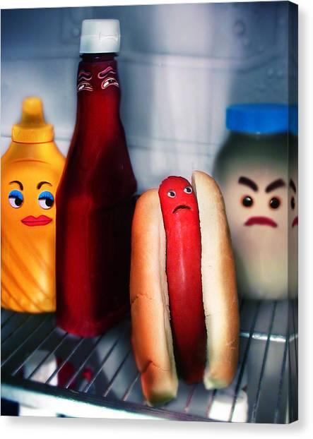 Mayonnaise Canvas Print - Hot Dog by Diane Bradley
