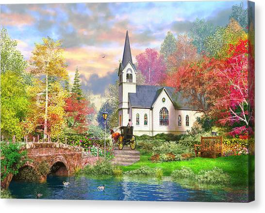 Falling Leaf Canvas Print - Autumnal Church by Dominic Davison