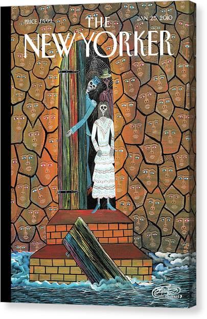January Canvas Print - New Yorker January 25th, 2010 by Frantz Zephirin
