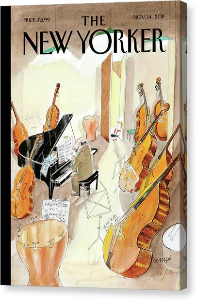 Drums Canvas Print - New Yorker November 14th, 2011 by Jean-Jacques Sempe