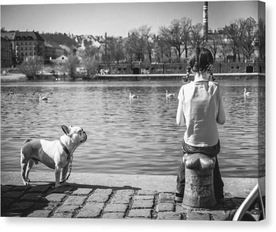 Children And Dog Canvas Print - Untitled - Prague by Cory Dewald